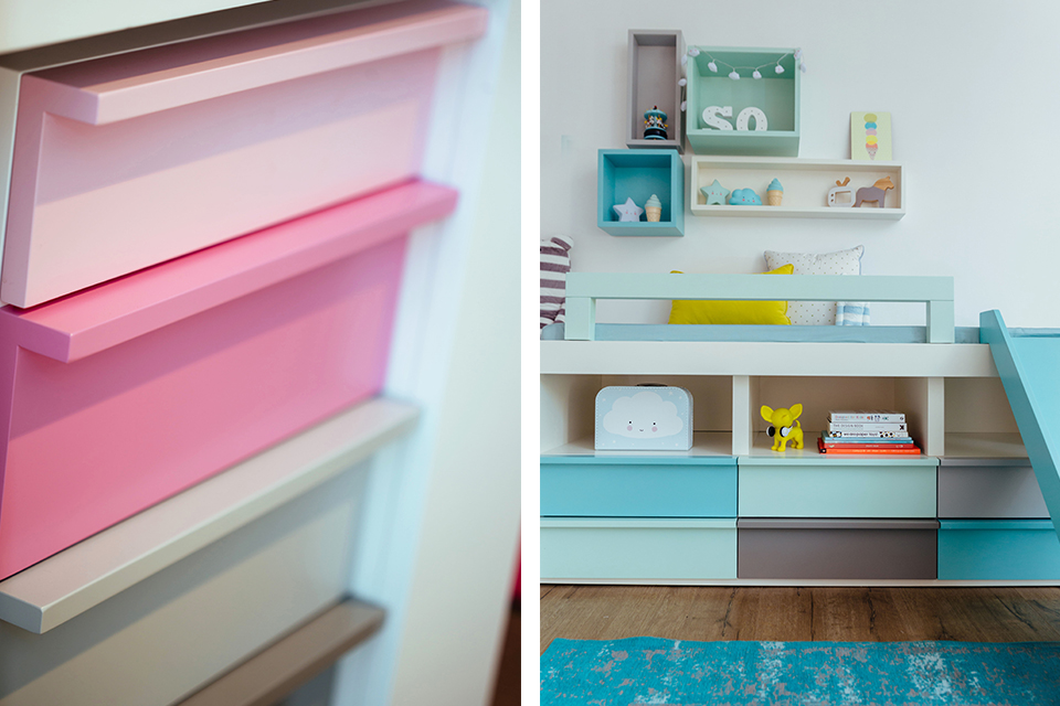 מגירות צבעוניות לחדרי ילדים ונוער