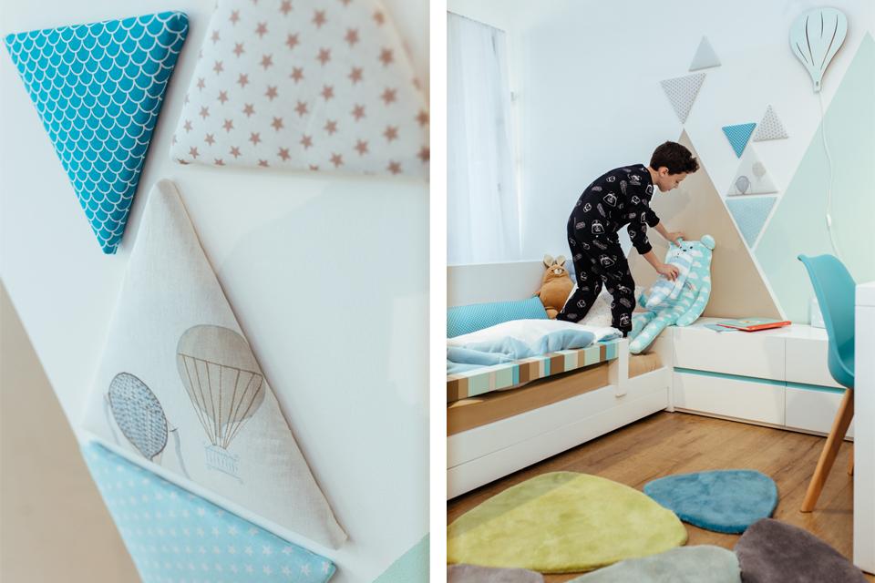 קיר משולשים לחדרי ילדים ונוער