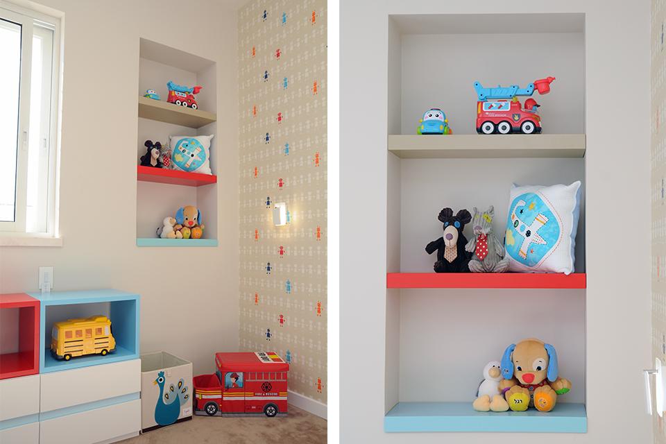 מדפים בנישה צבעוניים לחדרי ילדים